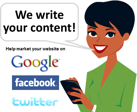 We write your content - Help market your website on Google, Facebook and Twitter